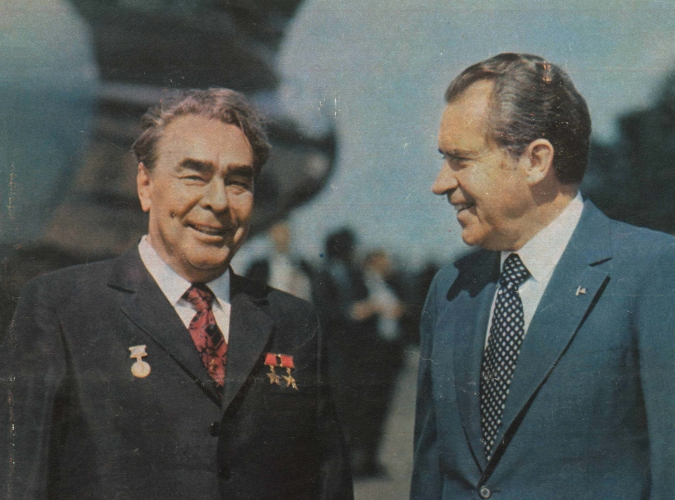 Генеральный секретарь ЦК КПСС Л. И. Брежнев и Президент США Р. Никсон. Москва, 27 июня 1974