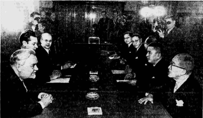 Прием Н. А. Булганиным Премьер-Министра Японии г-на Ициро Хатояма