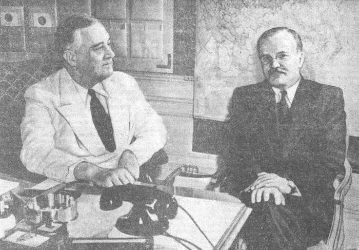 В. М. Молотов и Президент США Ф. Рузвельт. 1942
